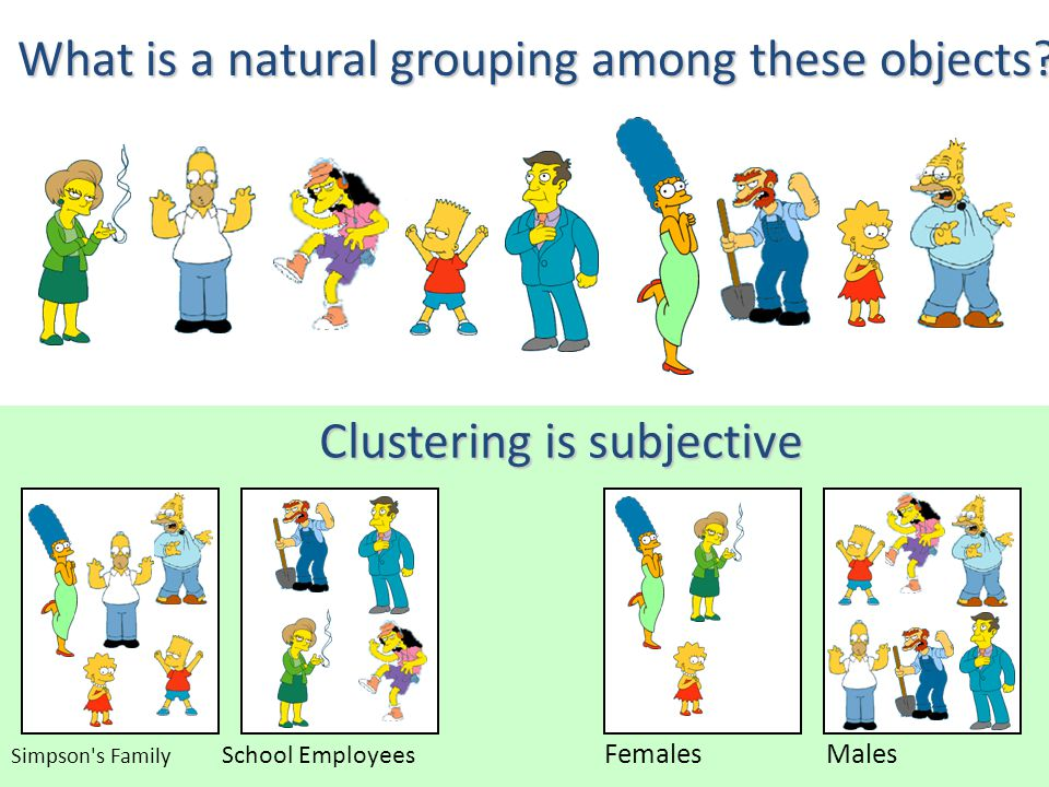 School Employees Simpson s Family MalesFemales Clustering is subjective What is a natural grouping among these objects?