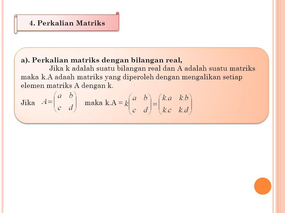 Contoh: 1. Jika dan maka tentukan P - Q Jawab: 2. Jika P matriks berordo 2x2 dan tentukan P Jawab:
