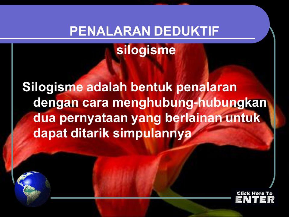 PENALARAN DEDUKTIF silogisme Silogisme adalah bentuk penalaran dengan cara menghubung-hubungkan dua pernyataan yang berlainan untuk dapat ditarik simpulannya