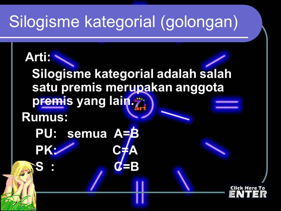 Silogisme kategorial (golongan) Arti: Silogisme kategorial adalah salah satu premis merupakan anggota premis yang lain. Rumus: PU: semua A=B PK: C=A S