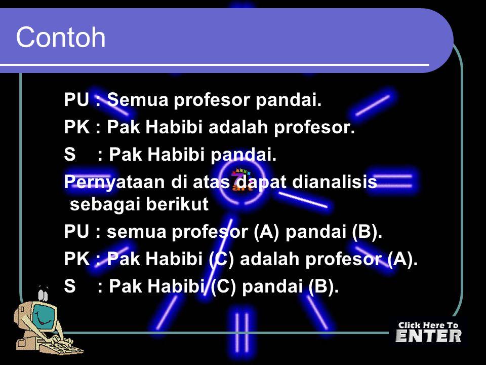 Contoh PU : Semua profesor pandai. PK : Pak Habibi adalah profesor. S : Pak Habibi pandai. Pernyataan di atas dapat dianalisis sebagai berikut PU : se