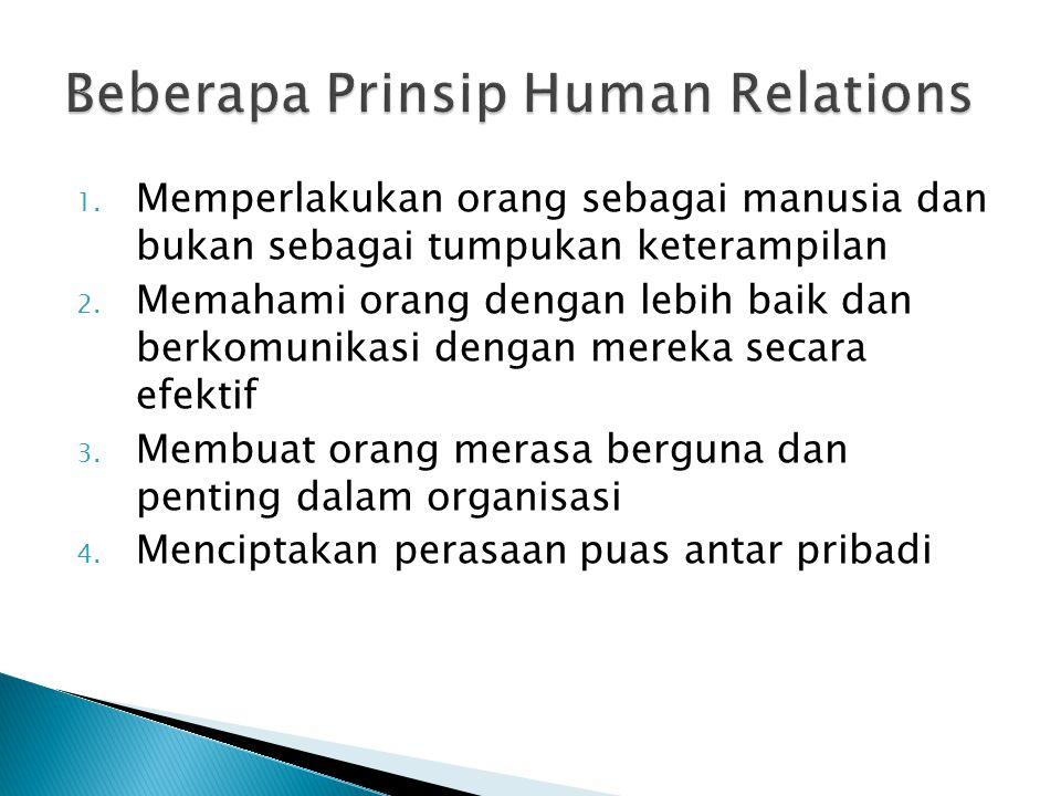 Menekankan pentingnya moral dalam suatu organisasi dan kebutuhan hubungan kerja yang baik antara pimpinan dan mereka yang dipimpin dalam upaya mencapai hasil guna (effectiveness) dan produktivitas yang tinggi.