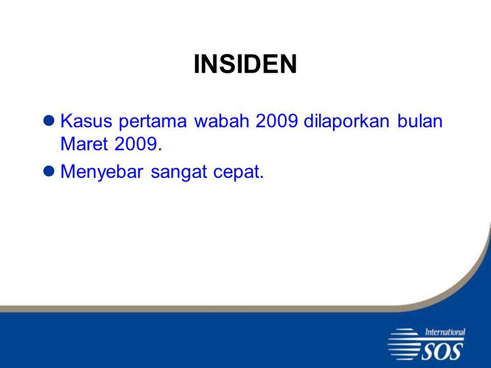 INSIDEN Kasus pertama wabah 2009 dilaporkan bulan Maret 2009. Menyebar sangat cepat.