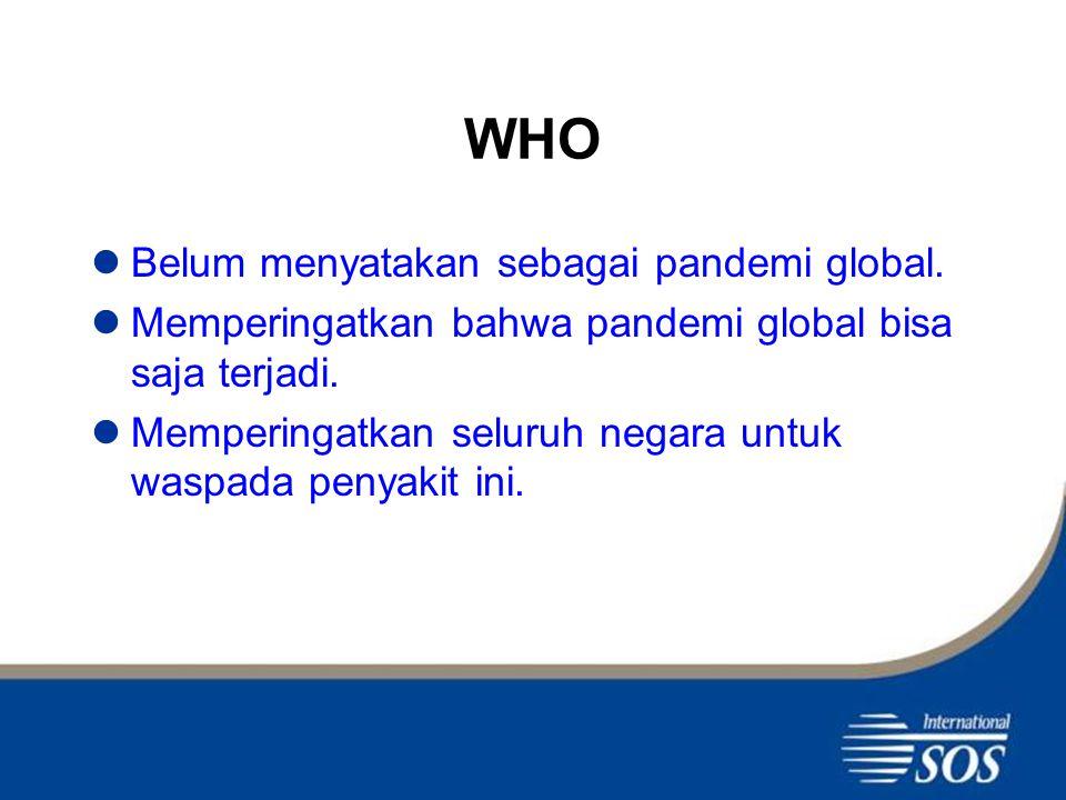 WHO Belum menyatakan sebagai pandemi global.Memperingatkan bahwa pandemi global bisa saja terjadi.