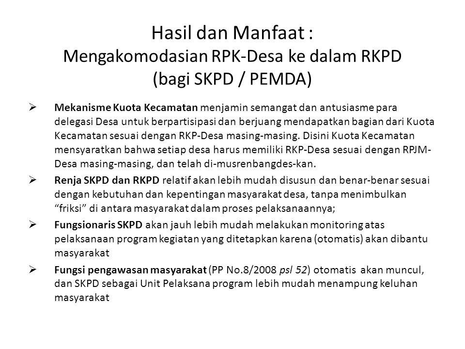 Hasil dan Manfaat : Mengakomodasian RPK-Desa ke dalam RKPD (bagi SKPD / PEMDA)  Mekanisme Kuota Kecamatan menjamin semangat dan antusiasme para delegasi Desa untuk berpartisipasi dan berjuang mendapatkan bagian dari Kuota Kecamatan sesuai dengan RKP-Desa masing-masing.