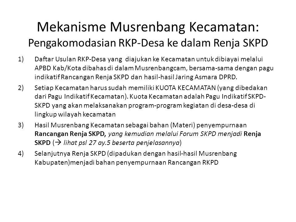Mekanisme Musrenbang Kecamatan: Pengakomodasian RKP-Desa ke dalam Renja SKPD 1)Daftar Usulan RKP-Desa yang diajukan ke Kecamatan untuk dibiayai melalui APBD Kab/Kota dibahas di dalam Musrenbangcam, bersama-sama dengan pagu indikatif Rancangan Renja SKPD dan hasil-hasil Jaring Asmara DPRD.