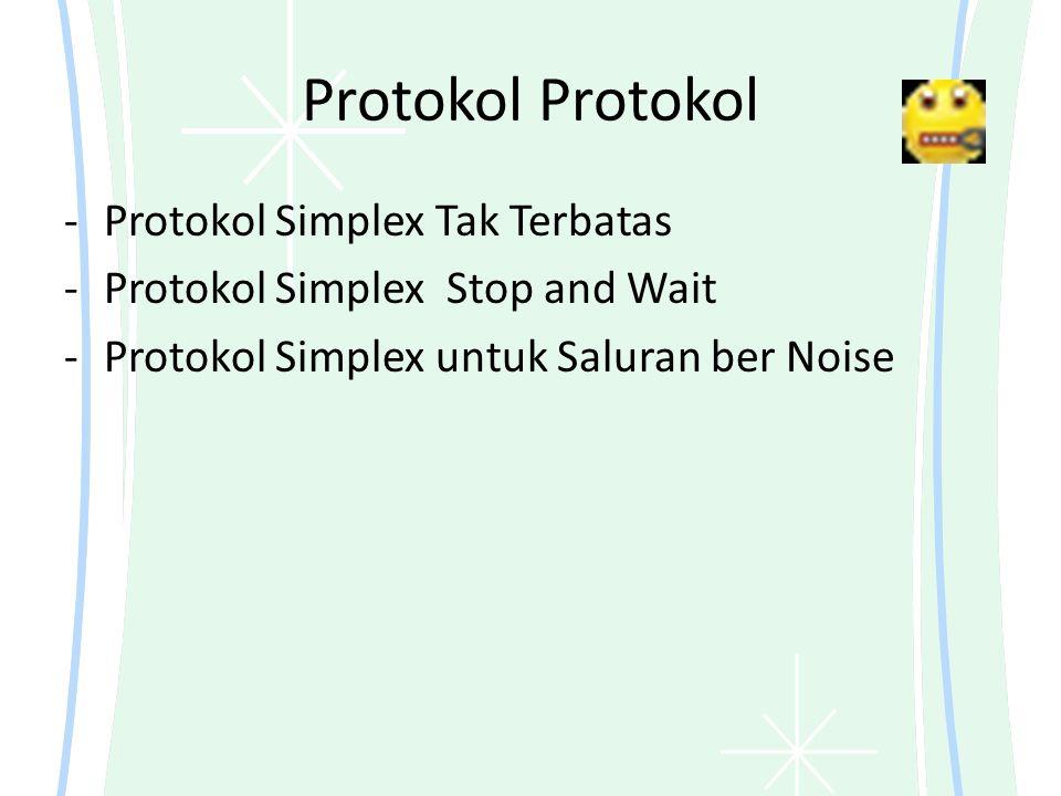 Protokol -Protokol Simplex Tak Terbatas -Protokol Simplex Stop and Wait -Protokol Simplex untuk Saluran ber Noise