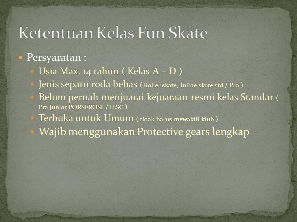 Persyaratan : Menggunakan Inline skate standar Maksimum modifikasi diameter roda 84mm Tidak menggunakan frame speed ( brand / merk ) Wajib menggunakan protect minimal helmet