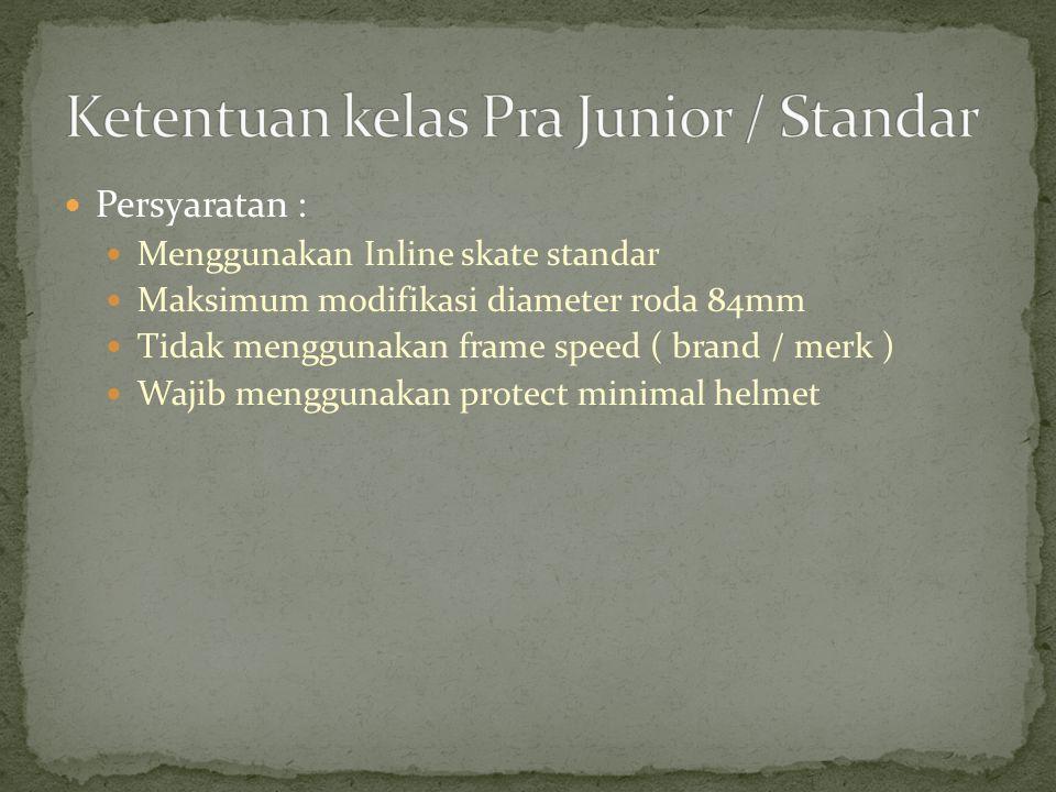 Persyaratan : Menggunakan Inline skate standar Maksimum modifikasi diameter roda 84mm Tidak menggunakan frame speed ( brand / merk ) Wajib menggunakan
