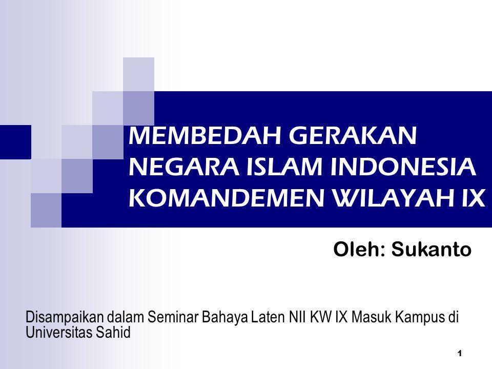 2 Sejarah NII Diproklamasikan pada 7 Agustus 1949 oleh Sekarmadji Maridjan Kartosuwiryo Diproklamasikannya NII untuk meneruskan proklamasi 17 Agustus 1945 Dikenal juga sebagai Darul Islam/ Tentara Islam Indonesia (DI/TII) Doktrin utamanya Iman-Hijrah-Jihad