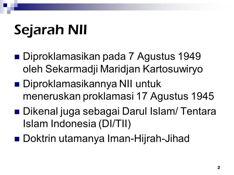 3 Konflik dengan RI NII meluas ke wilayah Aceh, Sulawesi Selatan dan Kalimantan Selatan NII dianggap gerombolan pemberontak yang harus diberantas Tahun 1962 Kartosuwiryo ditawan dan dieksekusi Aceh berdamai tahun 1962, diikuti Sulawesi Selatan tahun 1965 setelah tewasnya Qahhar Mudzakar