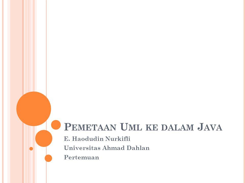 P EMETAAN U ML KE DALAM J AVA E. Haodudin Nurkifli Universitas Ahmad Dahlan Pertemuan