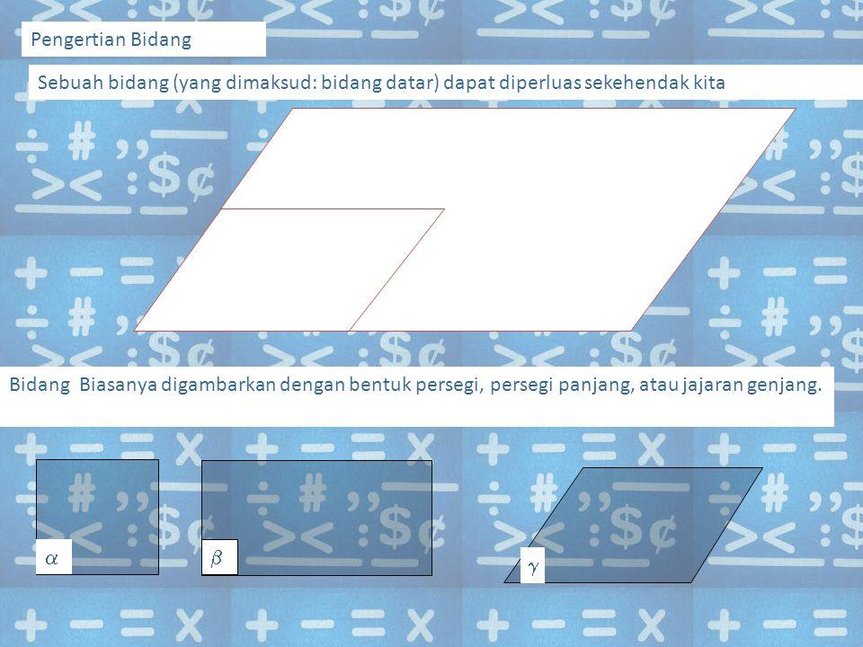 Pengertian Bidang Sebuah bidang (yang dimaksud: bidang datar) dapat diperluas sekehendak kita Bidang Biasanya digambarkan dengan bentuk persegi, persegi panjang, atau jajaran genjang.