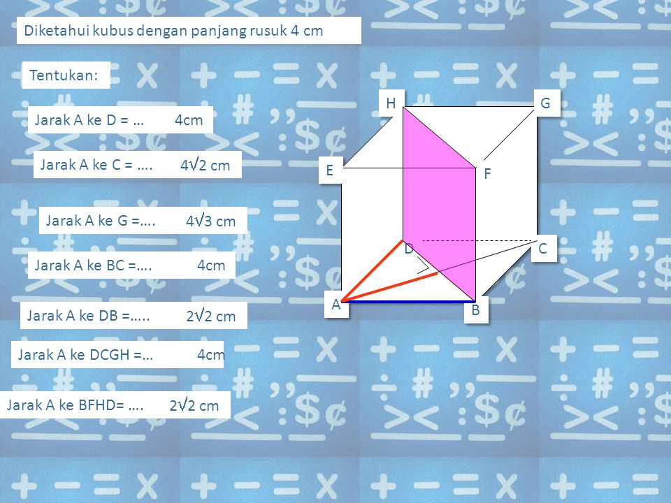 Diketahui kubus dengan panjang rusuk 4 cm Tentukan: Jarak A ke D = …4cm Jarak A ke C = ….