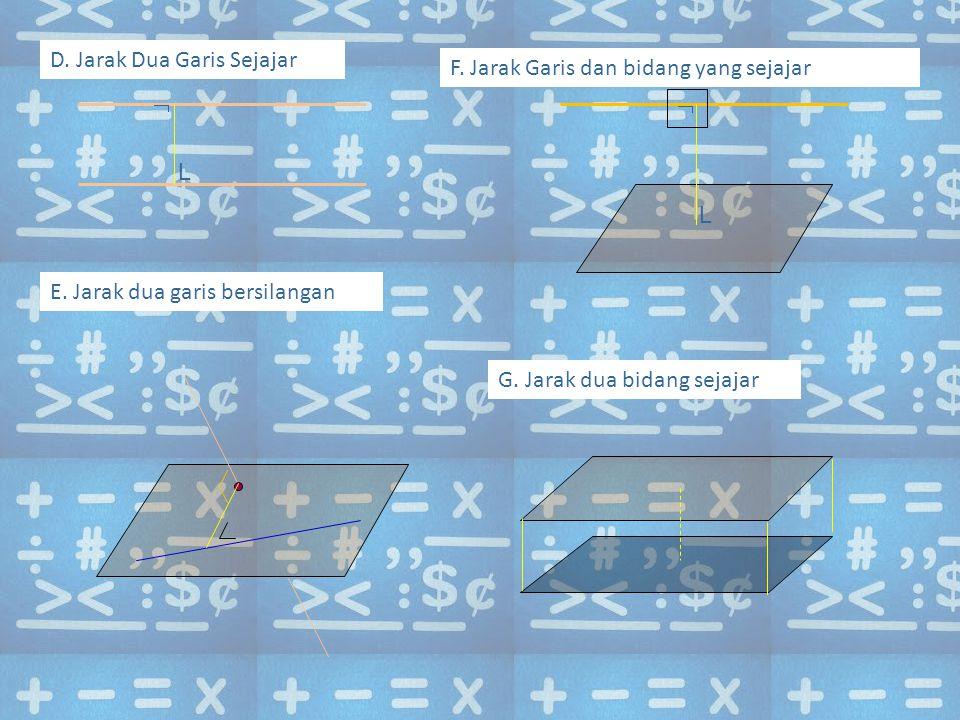 D. Jarak Dua Garis Sejajar  L E. Jarak dua garis bersilangan F. Jarak Garis dan bidang yang sejajar  L G. Jarak dua bidang sejajar