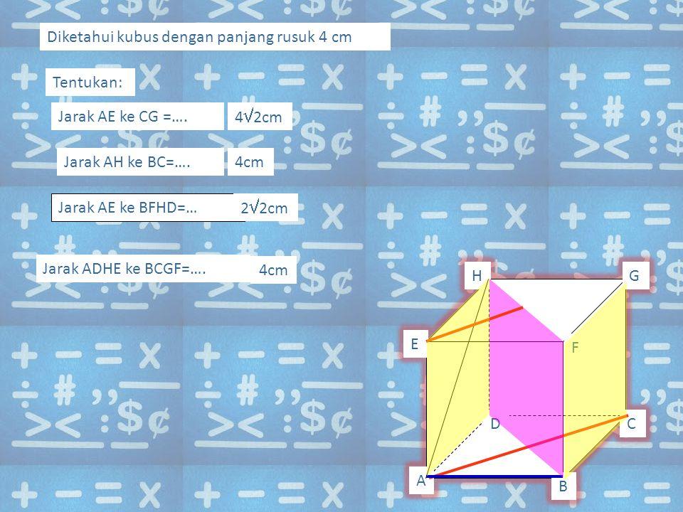 4cm Diketahui kubus dengan panjang rusuk 4 cm Tentukan: Jarak AE ke CG =….