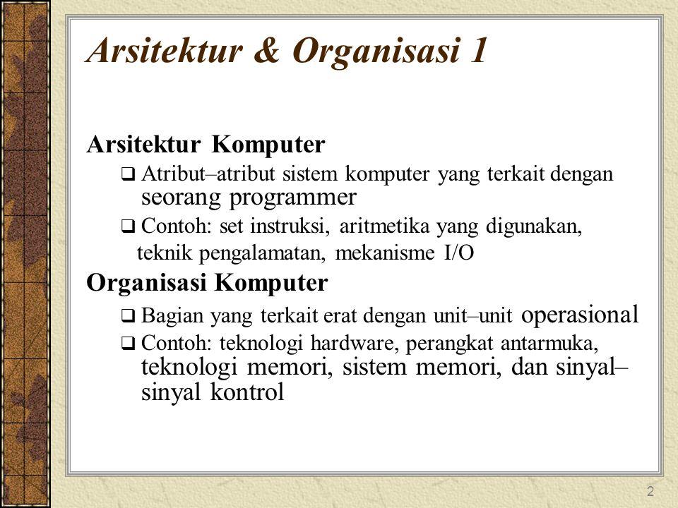 2 Arsitektur & Organisasi 1 Arsitektur Komputer  Atribut–atribut sistem komputer yang terkait dengan seorang programmer  Contoh: set instruksi, aritmetika yang digunakan, teknik pengalamatan, mekanisme I/O Organisasi Komputer  Bagian yang terkait erat dengan unit–unit operasional  Contoh: teknologi hardware, perangkat antarmuka, teknologi memori, sistem memori, dan sinyal– sinyal kontrol