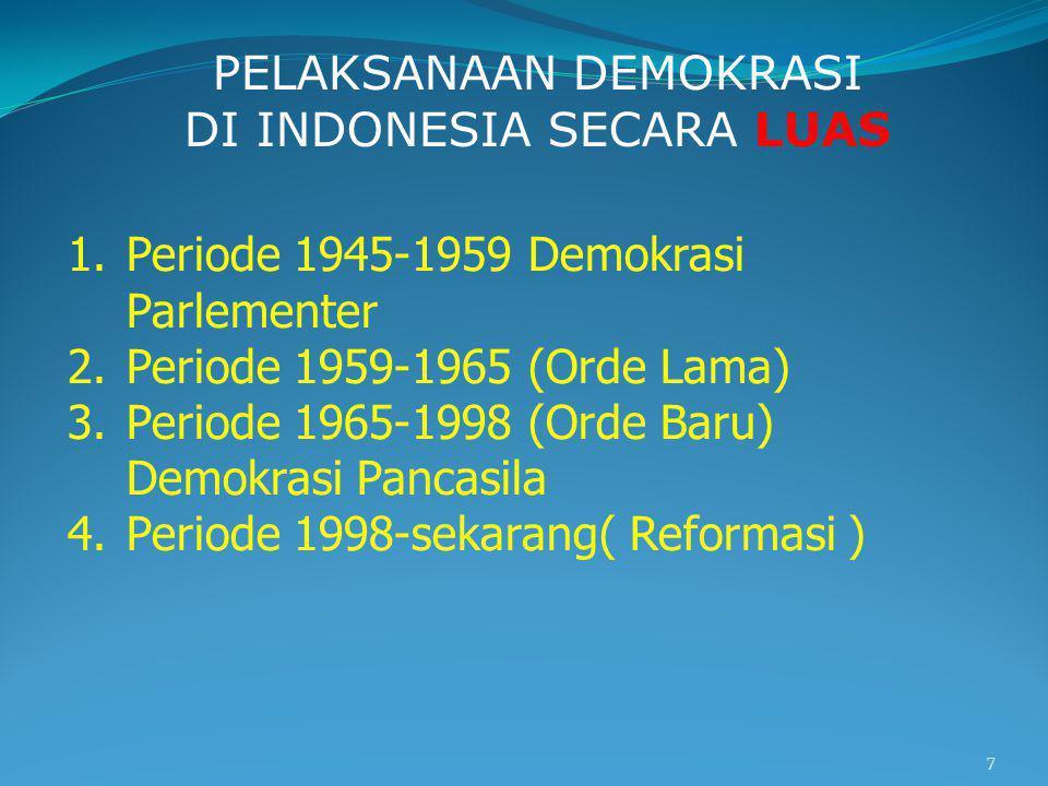 PELAKSANAAN DEMOKRASI DI INDONESIA SECARA LUAS 1.Periode 1945-1959 Demokrasi Parlementer 2.Periode 1959-1965 (Orde Lama) 3.Periode 1965-1998 (Orde Bar