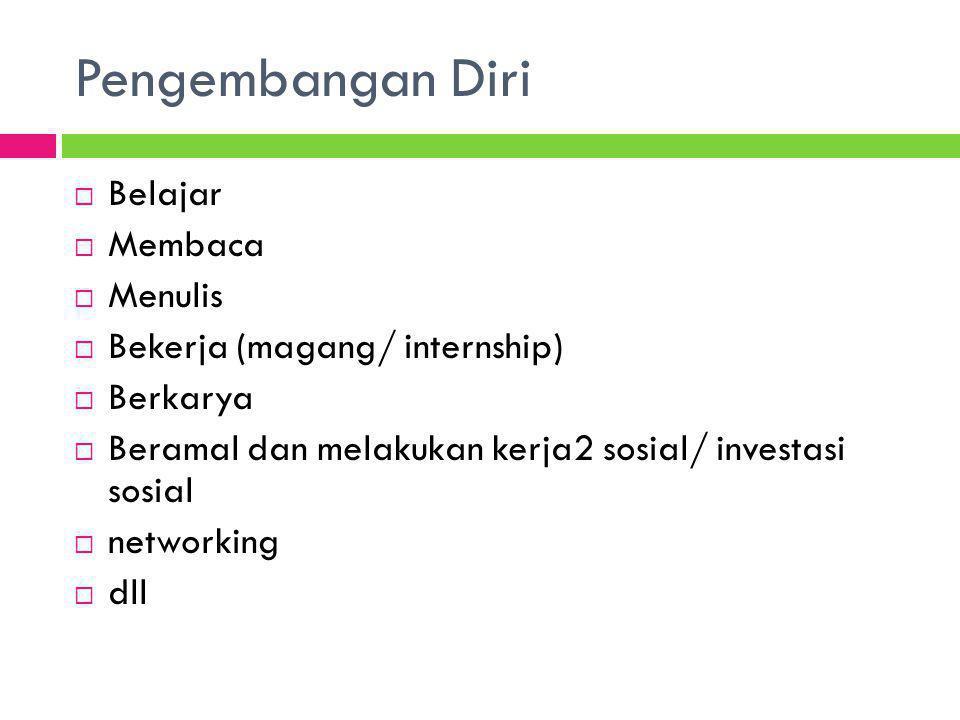  Belajar  Membaca  Menulis  Bekerja (magang/ internship)  Berkarya  Beramal dan melakukan kerja2 sosial/ investasi sosial  networking  dll Pen