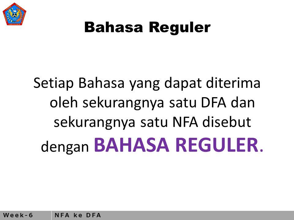 Week-6NFA ke DFA Bahasa Reguler Setiap Bahasa yang dapat diterima oleh sekurangnya satu DFA dan sekurangnya satu NFA disebut dengan BAHASA REGULER.