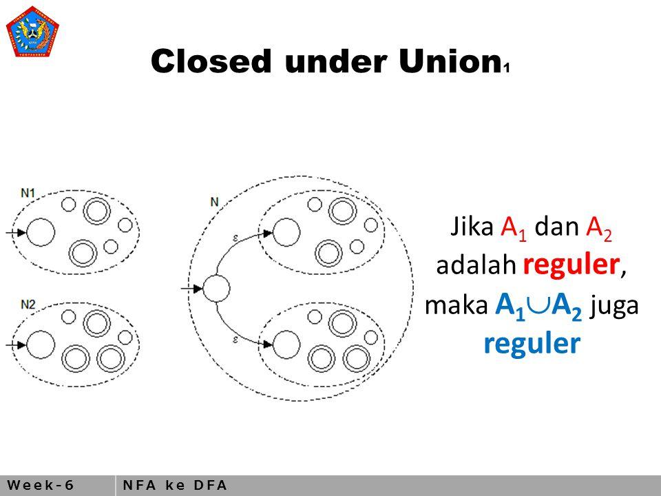 Week-6NFA ke DFA Closed under Union 1 Jika A 1 dan A 2 adalah reguler, maka A 1  A 2 juga reguler