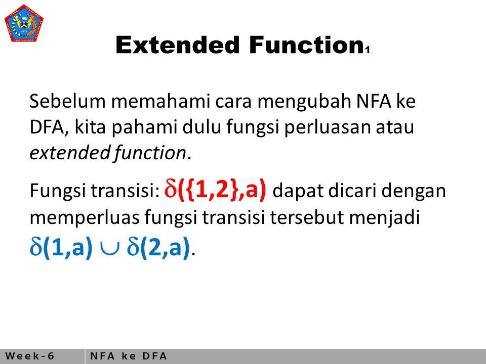 Week-6NFA ke DFA Closed Under Star Operation 2 N 1 = (Q 1, ,  1, q 1, F 1 ) mengenali A 1 N = (Q, , , q 0, F 2 ) yang mengenali A 1 ○ A 2 Q = {q 0 }  Q 1 q 0 = keadaan awal N yang baru F = q 0  F 1  (q,a) q  Q 1 dan q  F 1 q  F 1 dan a  q  F 1 dan a=  q  q 0 dan a=   1 (q,a)  1 (q,a)  {q 1 }  {q 1 } q  q 0 dan a 