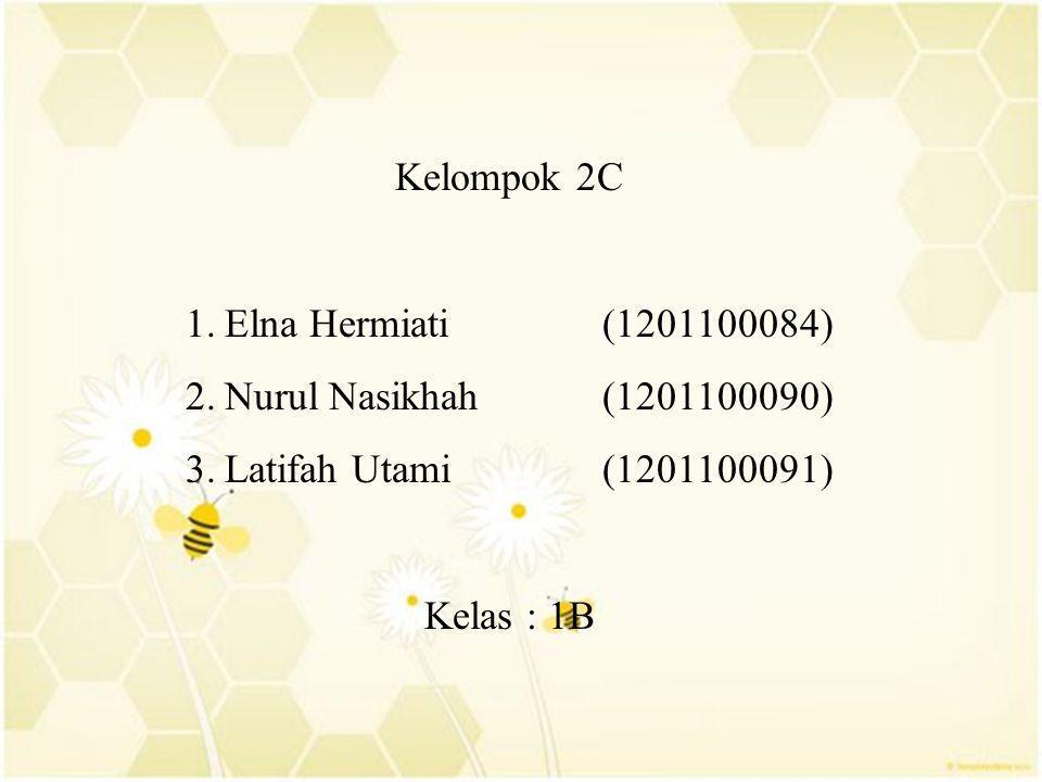 Kelompok 2C 1.Elna Hermiati (1201100084) 2.Nurul Nasikhah (1201100090) 3.Latifah Utami (1201100091) Kelas : 1B