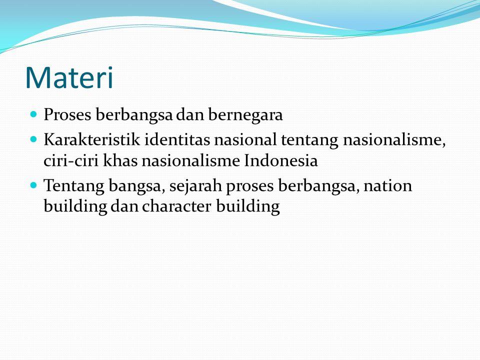 Materi Proses berbangsa dan bernegara Karakteristik identitas nasional tentang nasionalisme, ciri-ciri khas nasionalisme Indonesia Tentang bangsa, sej