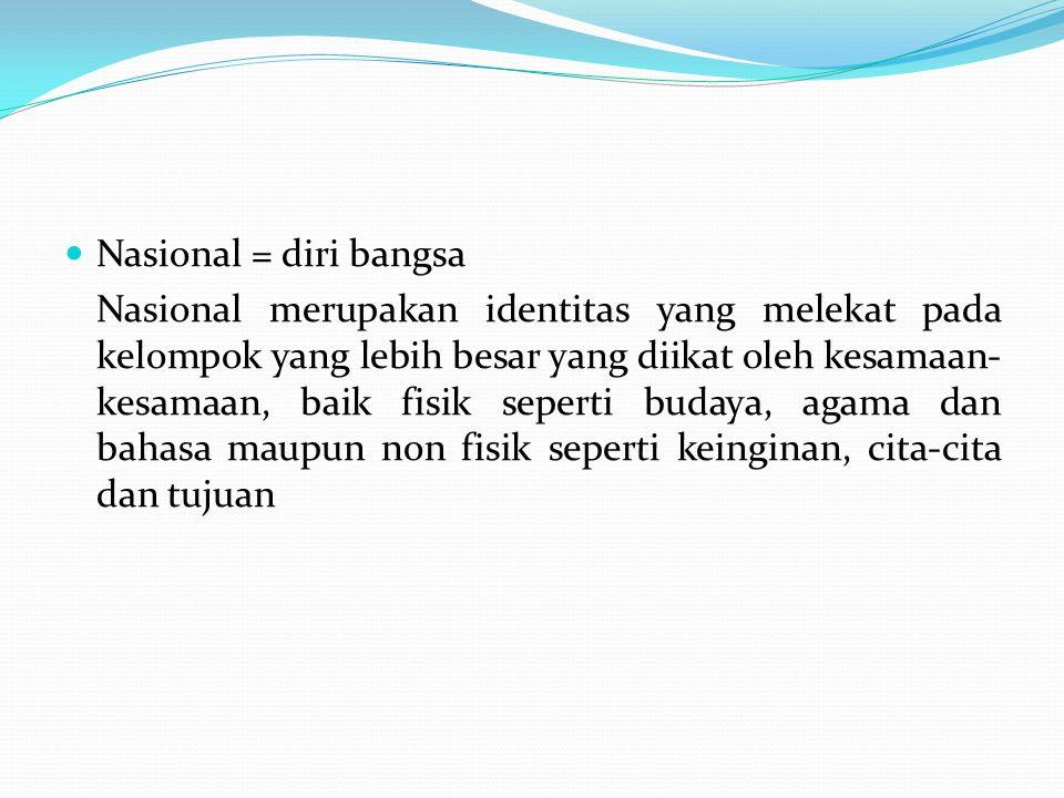 Identitas nasional ialah jati diri yang membentuk bangsa yaitu berbagai suku bangsa, agama, bahasa Indonesia, budaya nasional, wilayah nusantara, ideologi Pancasila Dengan kata lain : Unsur-unsur pembentukan identitas nasional adalah : 1.