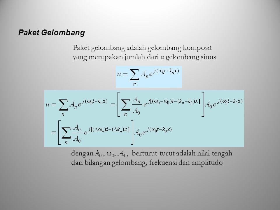 Paket gelombang adalah gelombang komposit yang merupakan jumlah dari n gelombang sinus Paket Gelombang dengan k 0,  0, A 0, berturut-turut adalah nil