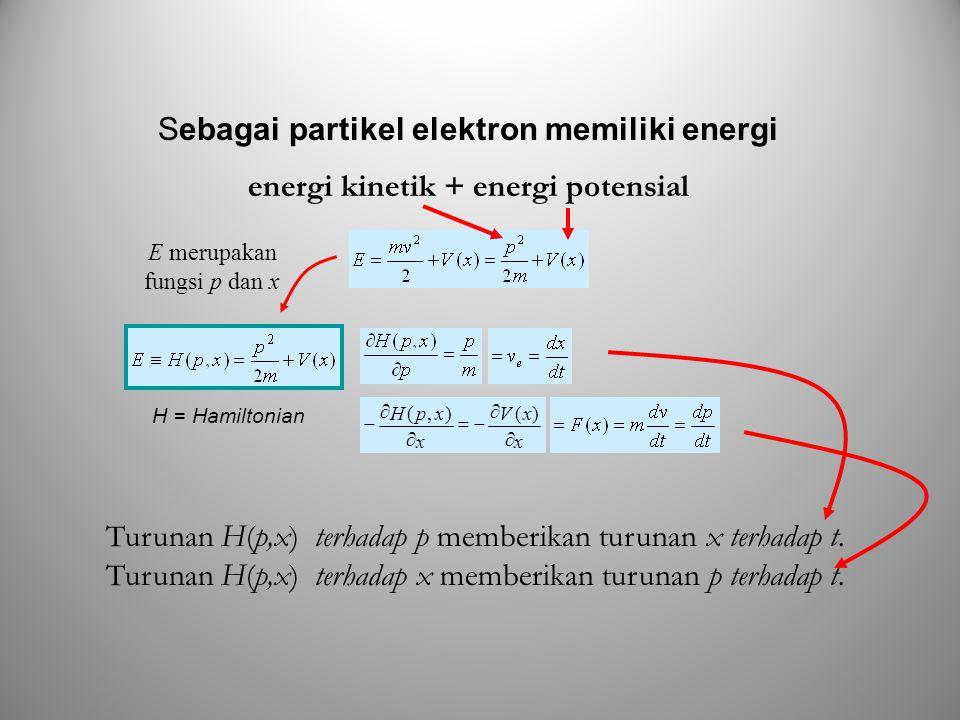 H = Hamiltonian Sebagai partikel elektron memiliki energi energi kinetik + energi potensial Turunan H(p,x) terhadap p memberikan turunan x terhadap t.