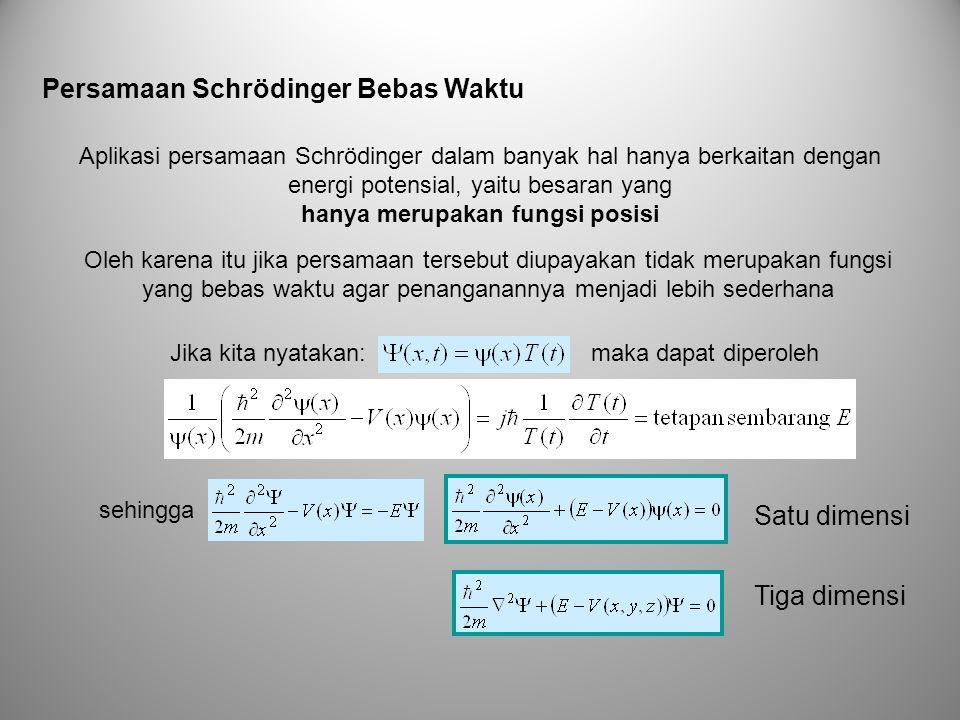 Persamaan Schrödinger Bebas Waktu Aplikasi persamaan Schrödinger dalam banyak hal hanya berkaitan dengan energi potensial, yaitu besaran yang hanya me