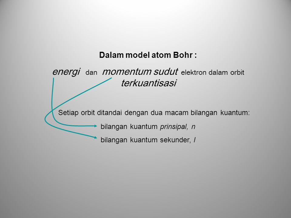 Dalam model atom Bohr : energi dan momentum sudut elektron dalam orbit terkuantisasi Setiap orbit ditandai dengan dua macam bilangan kuantum: bilangan