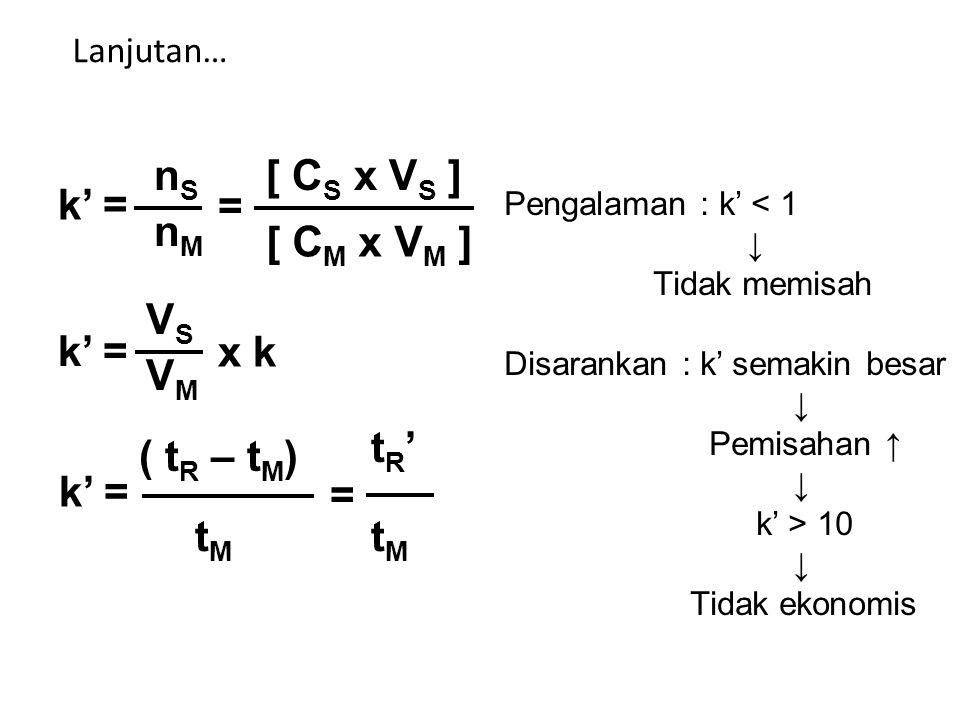 Lanjutan… k' = nSnS nMnM [ C S x V S ] [ C M x V M ] = k' = VSVS VMVM x k k' = ( t R – t M ) tMtM tR'tR' tMtM = Pengalaman : k' < 1 ↓ Tidak memisah Disarankan : k' semakin besar ↓ Pemisahan ↑ ↓ k' > 10 ↓ Tidak ekonomis