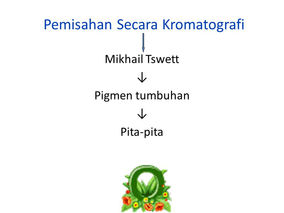 Pemisahan Secara Kromatografi Mikhail Tswett ↓ Pigmen tumbuhan ↓ Pita-pita