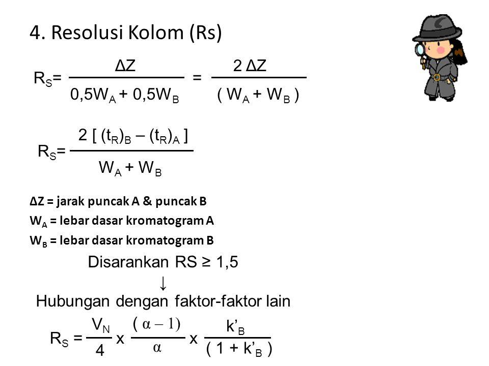 4. Resolusi Kolom (Rs) ΔZ = jarak puncak A & puncak B W A = lebar dasar kromatogram A W B = lebar dasar kromatogram B RS=RS= ΔZΔZ 0,5W A + 0,5W B 2 ΔZ