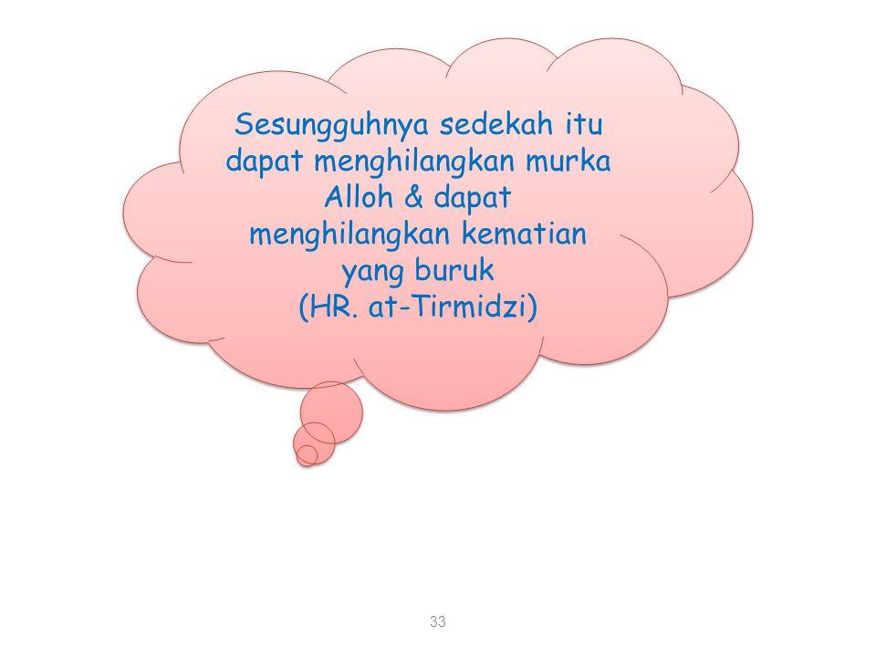 Sesungguhnya sedekah itu dapat menghilangkan murka Alloh & dapat menghilangkan kematian yang buruk (HR.