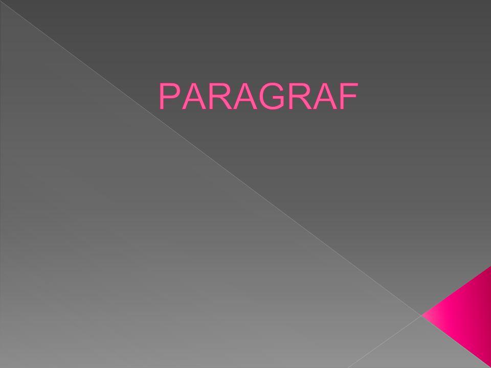 Pengertian 1.Paragraf adalah bagian karangan yang terdiri dari beberapa kalimat yang merupakan kesatuan untuk menyampaikan gagasan utama/ide pokok 2.Seperangkat kalimat yang membahas satu topik atau hanya mengacu pada satu gagasan pokok.