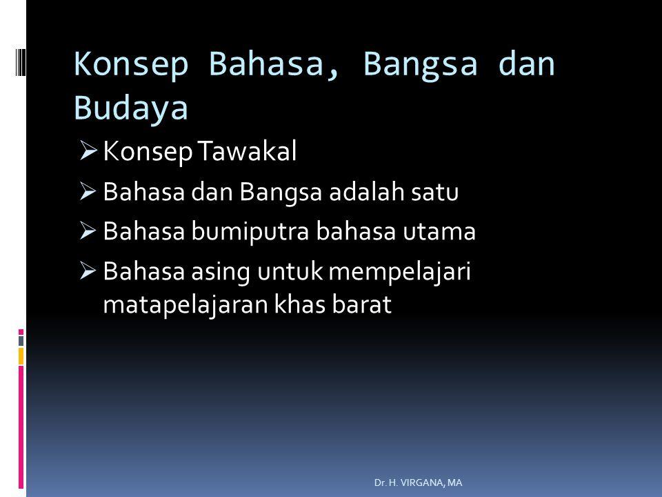 Konsep Bahasa, Bangsa dan Budaya  Konsep Tawakal  Bahasa dan Bangsa adalah satu  Bahasa bumiputra bahasa utama  Bahasa asing untuk mempelajari matapelajaran khas barat Dr.