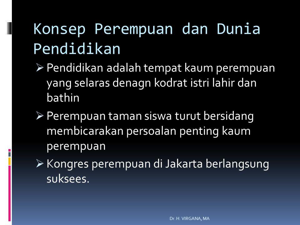 Konsep Perempuan dan Dunia Pendidikan  Pendidikan adalah tempat kaum perempuan yang selaras denagn kodrat istri lahir dan bathin  Perempuan taman siswa turut bersidang membicarakan persoalan penting kaum perempuan  Kongres perempuan di Jakarta berlangsung suksees.