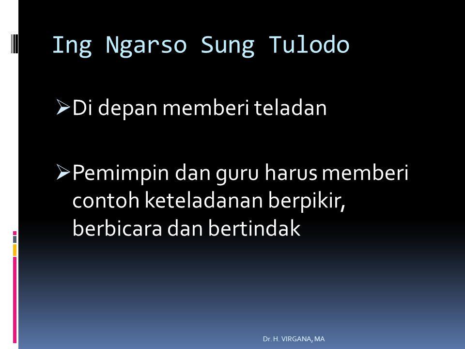 Ing Ngarso Sung Tulodo  Di depan memberi teladan  Pemimpin dan guru harus memberi contoh keteladanan berpikir, berbicara dan bertindak Dr.