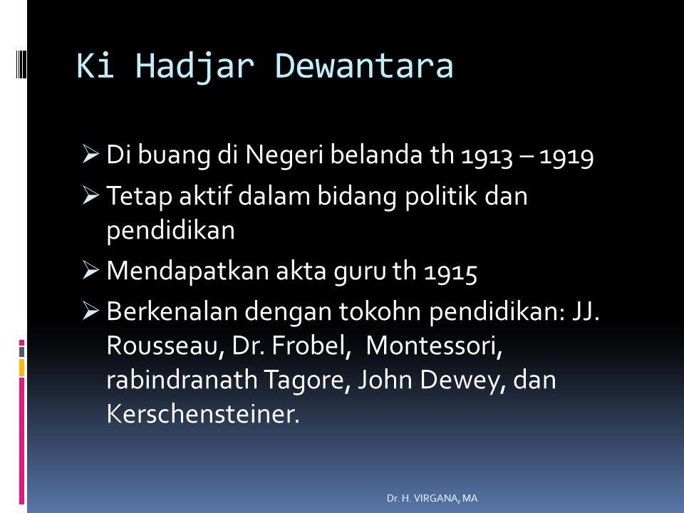 Ki Hadjar Dewantara  Di buang di Negeri belanda th 1913 – 1919  Tetap aktif dalam bidang politik dan pendidikan  Mendapatkan akta guru th 1915  Berkenalan dengan tokohn pendidikan: JJ.