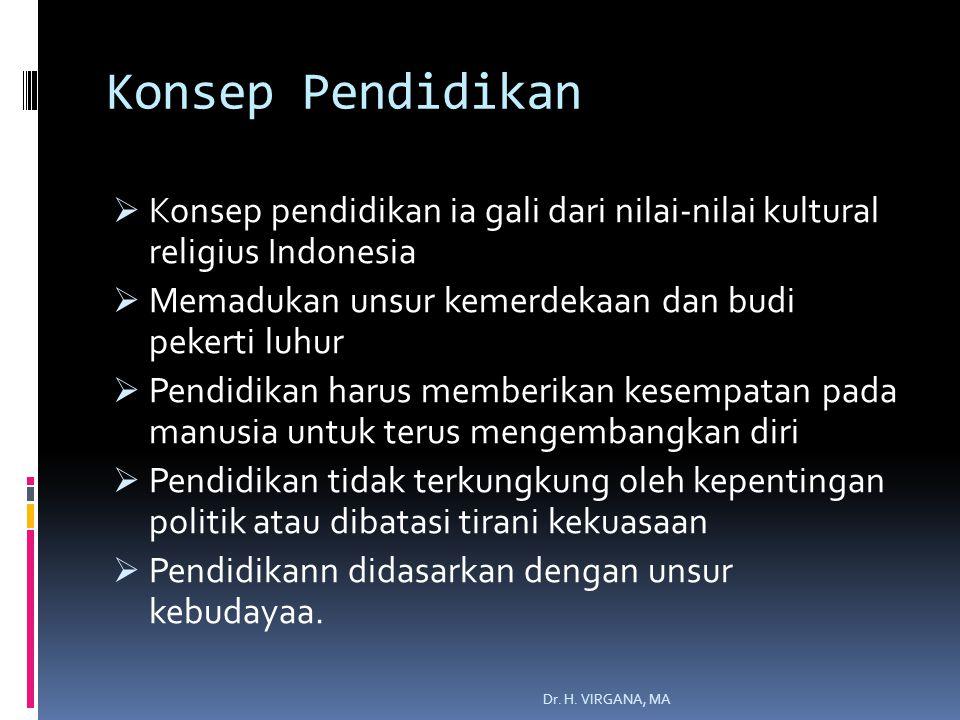 Konsep Pendidikan  Konsep pendidikan ia gali dari nilai-nilai kultural religius Indonesia  Memadukan unsur kemerdekaan dan budi pekerti luhur  Pendidikan harus memberikan kesempatan pada manusia untuk terus mengembangkan diri  Pendidikan tidak terkungkung oleh kepentingan politik atau dibatasi tirani kekuasaan  Pendidikann didasarkan dengan unsur kebudayaa.