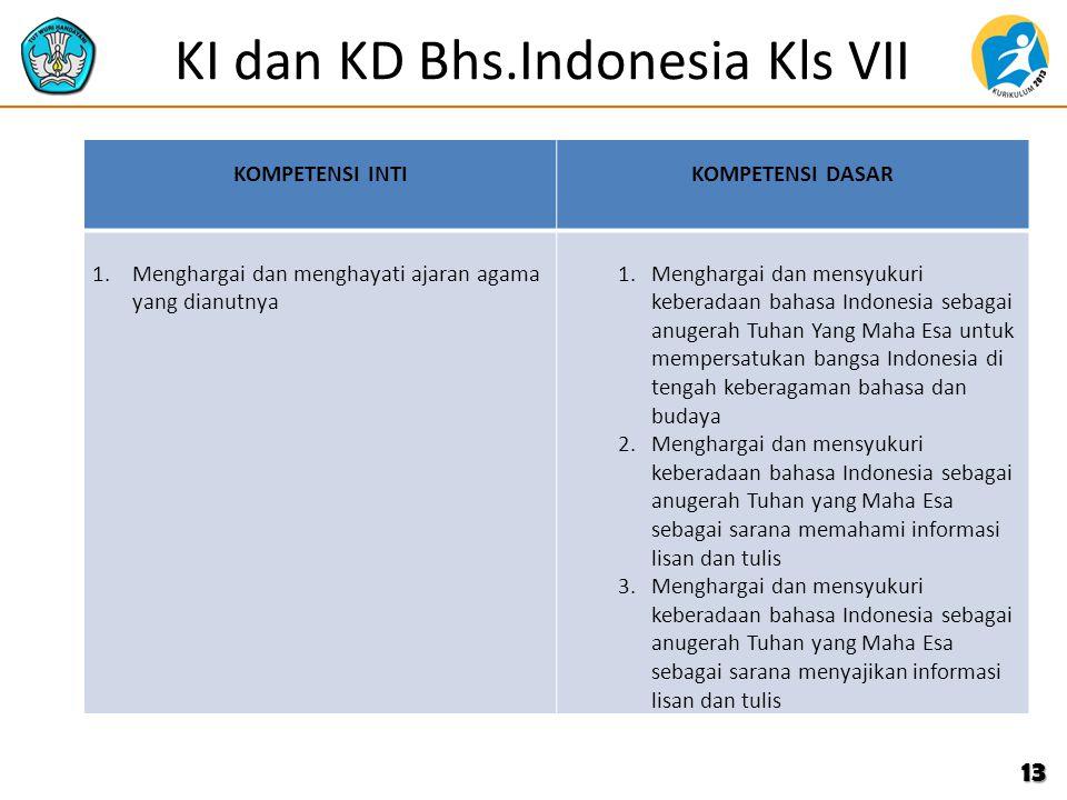KI dan KD Bhs.Indonesia Kls VII KOMPETENSI INTIKOMPETENSI DASAR 1.Menghargai dan menghayati ajaran agama yang dianutnya 1.Menghargai dan mensyukuri ke