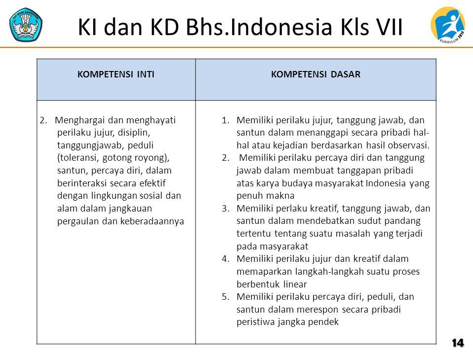 KI dan KD Bhs.Indonesia Kls VII KOMPETENSI INTIKOMPETENSI DASAR 2. Menghargai dan menghayati perilaku jujur, disiplin, tanggungjawab, peduli (tolerans