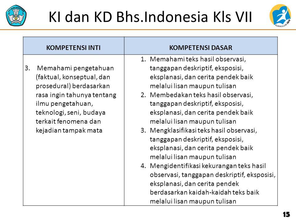 KI dan KD Bhs.Indonesia Kls VII KOMPETENSI INTIKOMPETENSI DASAR 3. Memahami pengetahuan (faktual, konseptual, dan prosedural) berdasarkan rasa ingin t