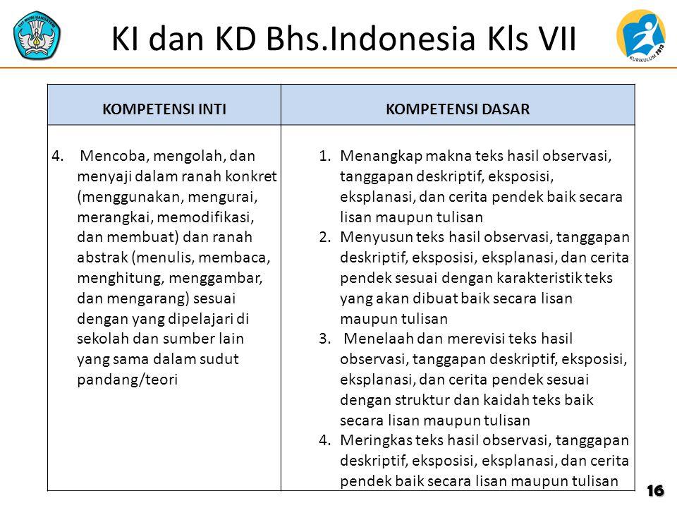 KI dan KD Bhs.Indonesia Kls VII KOMPETENSI INTIKOMPETENSI DASAR 4. Mencoba, mengolah, dan menyaji dalam ranah konkret (menggunakan, mengurai, merangka