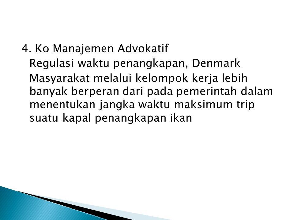 4. Ko Manajemen Advokatif Regulasi waktu penangkapan, Denmark Masyarakat melalui kelompok kerja lebih banyak berperan dari pada pemerintah dalam menen