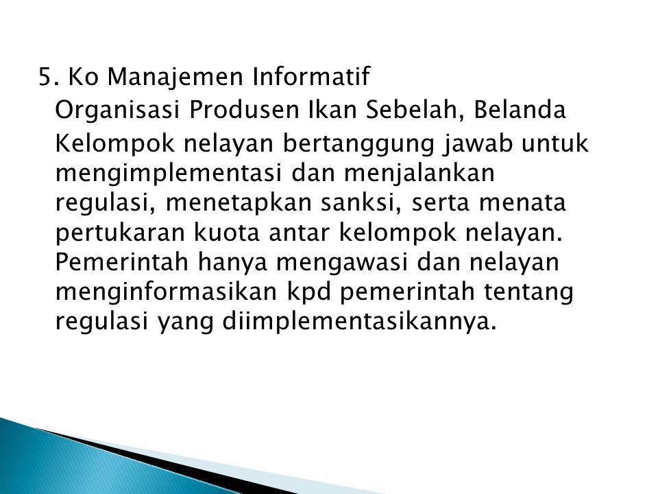 5. Ko Manajemen Informatif Organisasi Produsen Ikan Sebelah, Belanda Kelompok nelayan bertanggung jawab untuk mengimplementasi dan menjalankan regulas