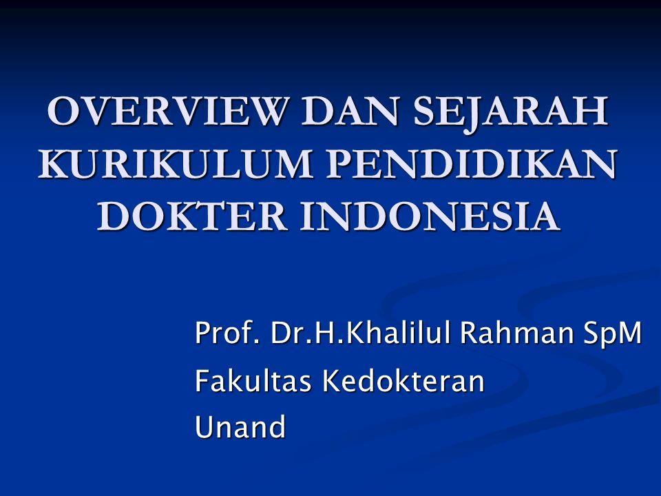 OVERVIEW DAN SEJARAH KURIKULUM PENDIDIKAN DOKTER INDONESIA Prof. Dr.H.Khalilul Rahman SpM Fakultas Kedokteran Unand